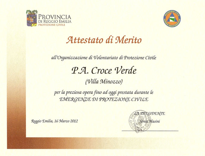 Attestato della provincia di Reggio Emilia