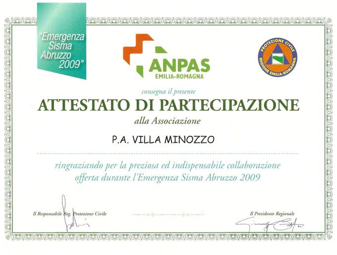 Attestato di partecipazione sisma in Abruzzo